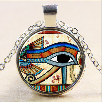 Horus Eye photo Cabochon Glass Tibet Silver Chain Pendant Necklace