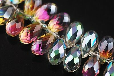 5pcs 20x10mm Teardrop Faceted Crystal Glass Loose Bead Pendants Rose Green