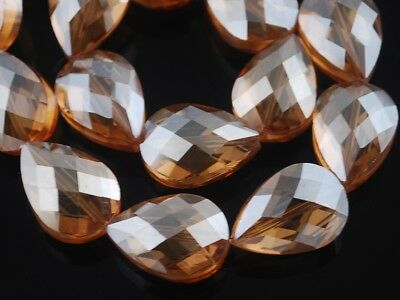 10pcs 24x17mm Teardrop Heart Faceted Crystal Glass Loose Craft Bead Amber Gold