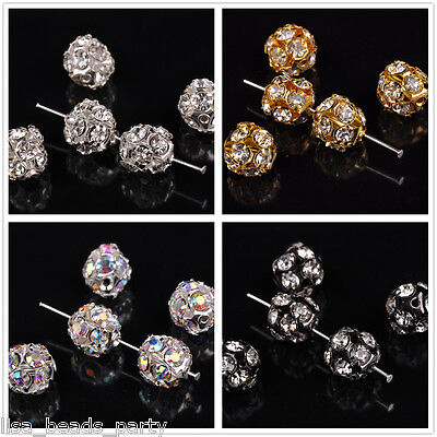 Wholesale 10mm Round Silver Plated Rhinestone Crystal Glass Loose Bead Charms