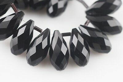 10pcs 20x10mm Teardrop Faceted Crystal Glass Spacer Loose Bead Pendants Black