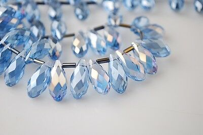 20pcs 16X8mm Teardrop Faceted Crystal Glass Pendant Loose Bead Light Blue AB