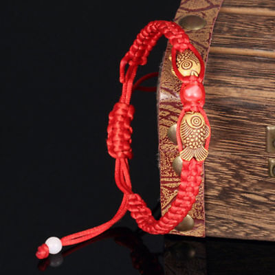 Feng Shui Red String Lucky Wooden Twin Fish Charm Bracelet for Good Luck&Wealth