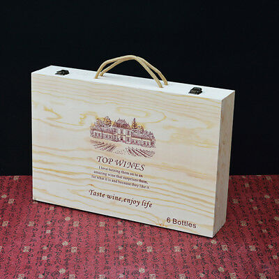 Wooden Storage Box Can Hold 6 Wine Bottles Carrier Crate Box Wedding XMAS Gifts