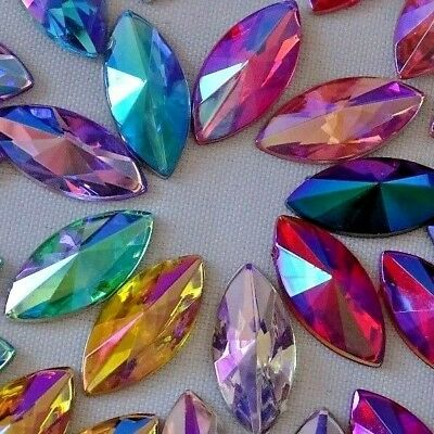 7x15mm Pointed Horse-Eye Crystal AB Acrylic Crystal Non-hotfix Rhinestone 100pcs