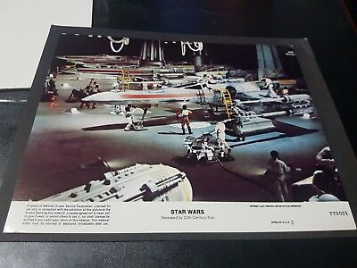 Star Wars 1977 original lobby card Mark Hamill in hanger with aircraft