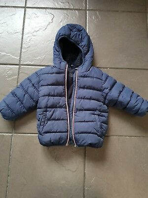 'NEXT' Baby Boy's 1.5-2 Years Navy Blue Fleece Lined Padded Coat - Excellent...