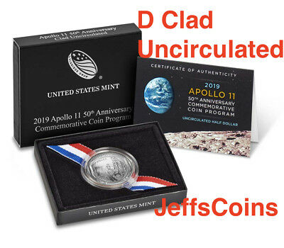 2019 D Apollo 11 50th Anniversary UNCIRCULATED Clad Half Dollar Curved Coin 19CG