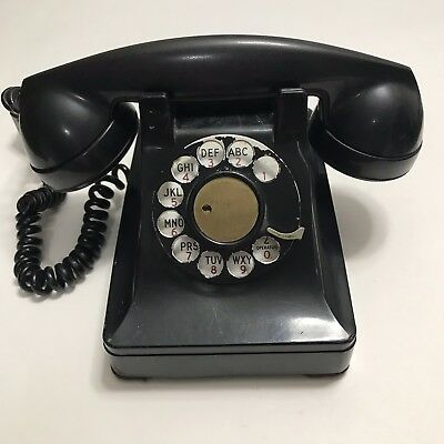Bell System Western Electric F1 Black Rotary Telephone Bakelite Hardwired 4Prong