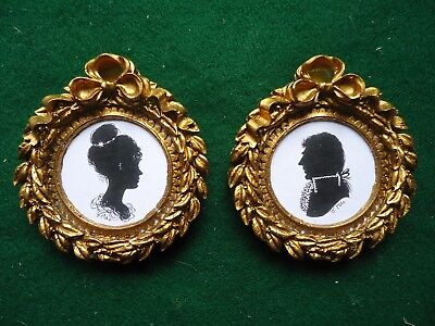 Pair  Of  Miniature  Silhouettes  In  Wreath  Frames