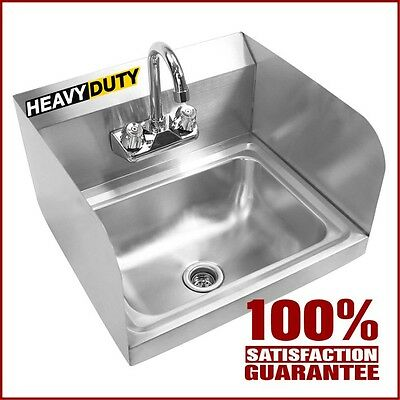 Commercial Wall Mount Hand Washing Sink Stainless Steel Utility Sinks w/ Faucet