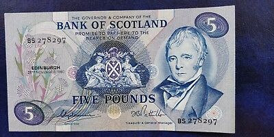 1980 Bank of Scotland UNCIRCULATED five pounds banknote (£5) see both images