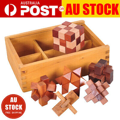 6 Puzzles Deluxe Gift Set 3 Wooden 3D Brain Teaser Puzzle Toys Kong Ming Lock AU