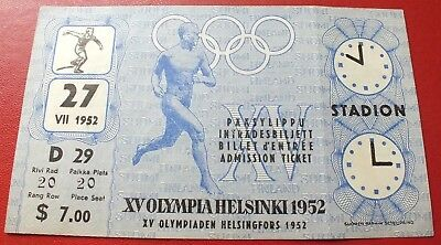 1952 Helsinki Olympic Games Original Ticket Discus Throw