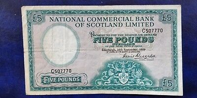 Very Rare 1959 National Commercial Bank Of Scotland Limited £5 Banknote