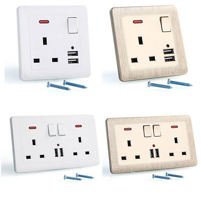 Double Wall Plug Socket 2 Gang 13A with USB Charger Port Outlets White Plate