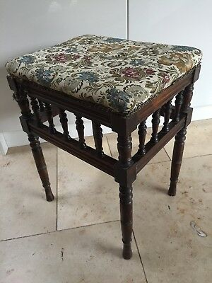 Antique Victorian Upholstered Music Piano Stool with Embroidered Seat
