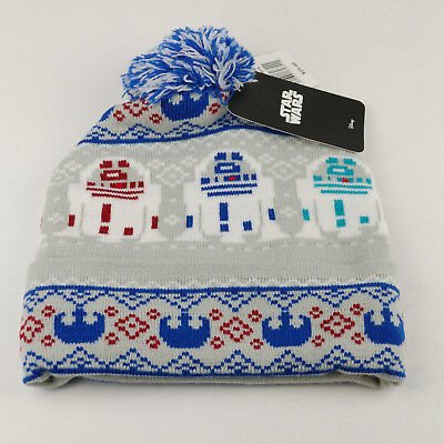 NWT Disney Star Wars Winter Beanie R2D2 Knit Cap Pom Hat Men Women (249 eefdb4feadfe
