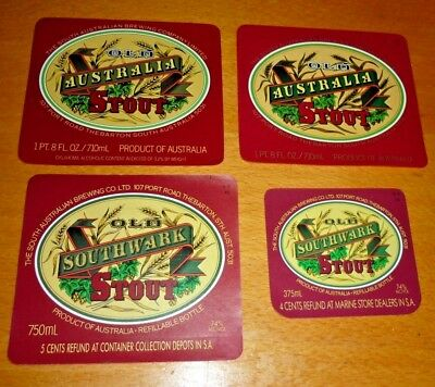 Collectable beer labels -  Set of 4 Southwark Old Stout beer labels MINT
