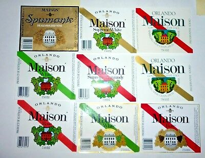 Collectable wine labels - Set of 9 Maison (Orlando) red & white wine labels MINT