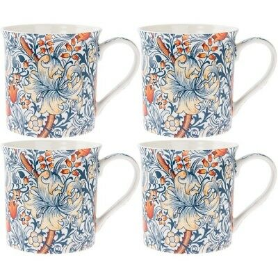 William Morris Golden Lily Set of 4 China Mugs in Gift Box Tea Coffee Cups -Blue