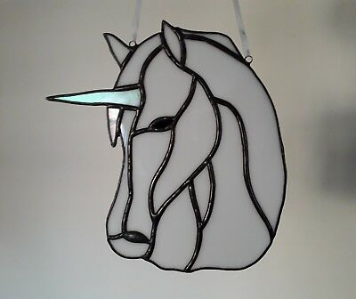 Stained glass handmade unicorn by 'Faith Stained Glass'