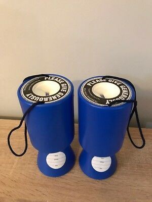 Blue Handheld Charity Donation Collection Money Boxes X2