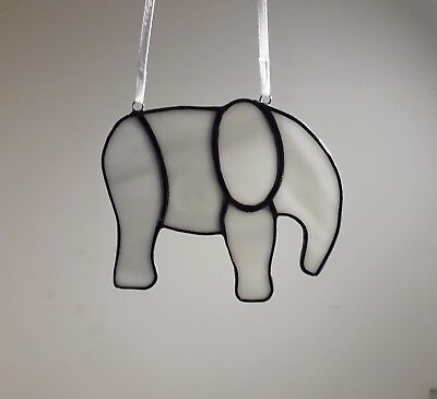 Stained Glass Grey Elephant (Handmade) Gift Brand New Tiffany Style