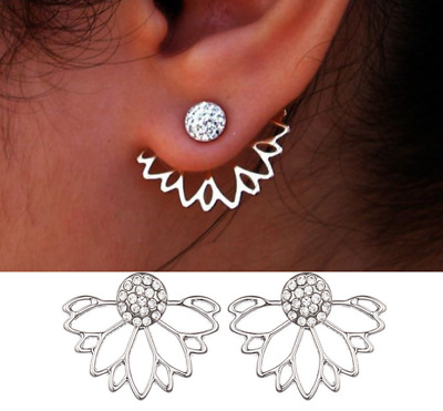 Womens Earrings Sterling Silver Plated Round Ear Stud Studs Crystal Dangle Drop