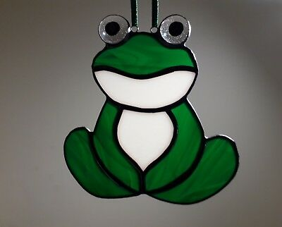 Stained Glass Suncatcher Green Frog Handmade New Tiffany Style