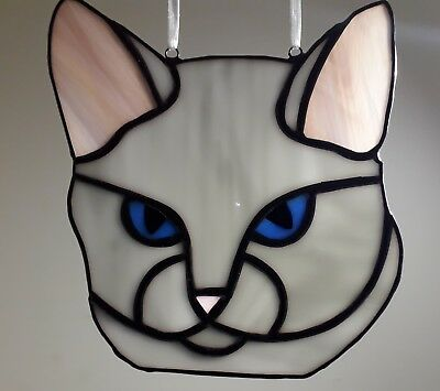Stained Glass Grey Cat (Handmade) Gift Brand New Tiffany Style