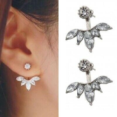 Womens Earrings Sterling Silver Plated Round Stud Studs CZ Crystal Gem Jewellery