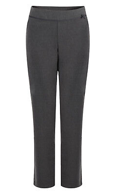 Girls School Trousers Ex Uk Store Adjustable Waist Grey Bow Ribbon 3-16Y New