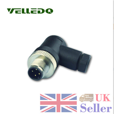 VELLEDQ Black M12 Sensor Connector 4 Pin Male Screw Plug Curved Copper Adaptor