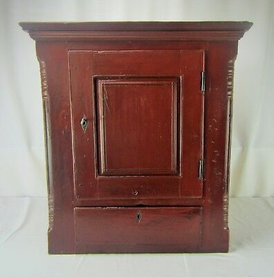 Antique Primitive Pennsylvania Red-Painted Cherry Cabinet w/ Drawer - Circa 1850