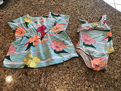 Circo Infant Girls Matching Bathing Suit And Cover Up 18 M Floral Hawaiian Print