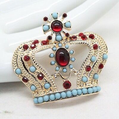 Vintage Style Turquoise & RUBY Cabochon CROWN BROOCH Pin Runway Jewellery
