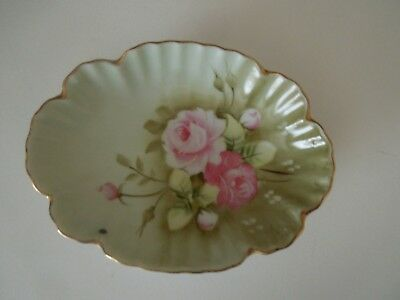 Lefton Heritage Green Porcelain Gold Trim Bonbon Dish 1860