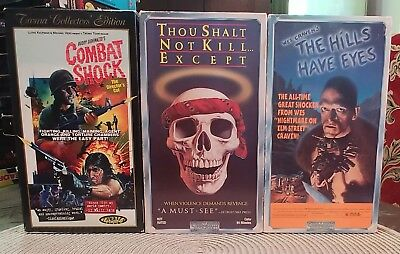 Vintage Horror Lot Vhs The Hills Have Eyes/combat Shock/thou Shalt Not Kill Exce