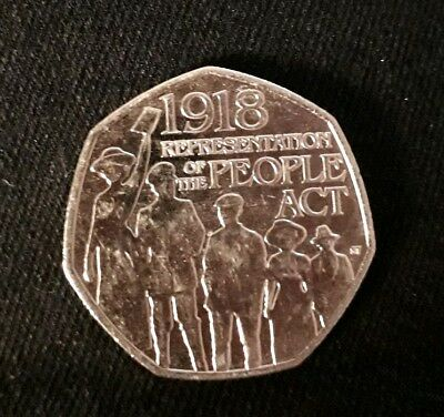 Representation Of The People Act 1918 - 50p Fifty Pence coin 2018 - Free Postage