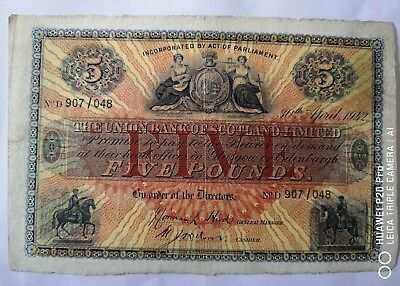 The Union Bank Of Scotland Limited; Five pounds, 30/4/1942, D907/048, Rare