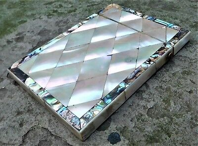 NO RESERVE c1910 Mother of Pearl Card Case M.O.P Vintage Antique