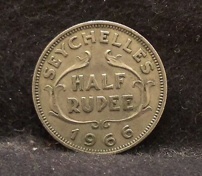 1966 Seychelles rupee, rare year with mintage of 15,000 only, KM-12