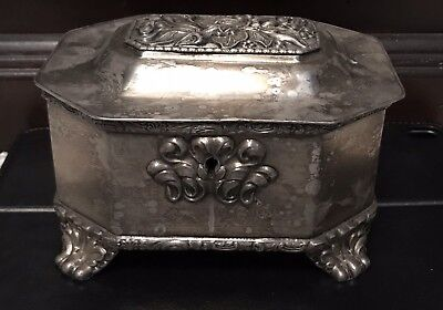 Rare Antique Silver Plate Sugar Box From Poland - Fragment 1846