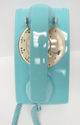 Aqua Blue and Tan Western Electric 554 Wall Telephone - Full Restoration