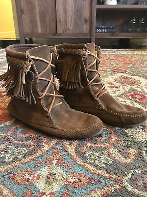 Minnetonka Womens 6 Short Brown Suede Leather Fringed Moccasin Ankle Boots xf