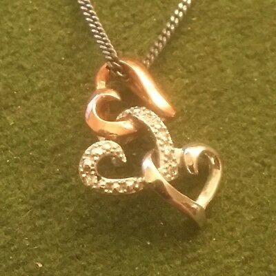 H Samuel Silver Entwined Heart Necklace