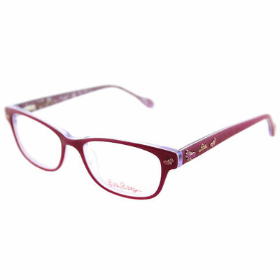 55bfd1ed64e Lilly Pulitzer Sandrine Girls FU Fuschia Plastic Rectangle Eyeglasses 48mm