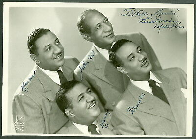 MILLS BROTHERS AUTOGRAPH, 1930's singing group of 4 on 8x10 REAL PHOTO