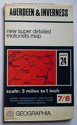 1969 Geographia super detailed motorists map 3 miles 1 in Aberdeen Inverness 24